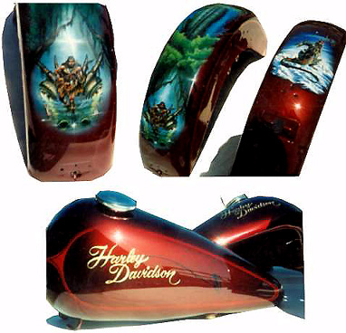 Motorcycle Airbrush Murals by 'Goldnrod' from Goldnrod Graphix